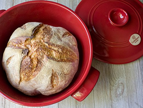 3-Piece Set: Emile Henry Ceramic Round Stewpot Dutch Oven Bread Pot, Burgundy, 8 inch Round Banneton Bread Rising Basket, Fitted Cotton Liner - Bundle by Bundle (Image #6)'