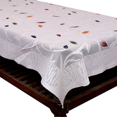 73c3d74b3ab Kuber Industries™ Center Table White Floral Design in Cloth Net 40   60  Inches - KI3552