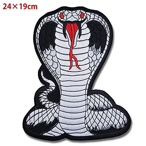 ワッペン コブラ 蛇 白蛇 キングコブラ バッジ エンブレム パッチ アップリケ 大きいサイズ