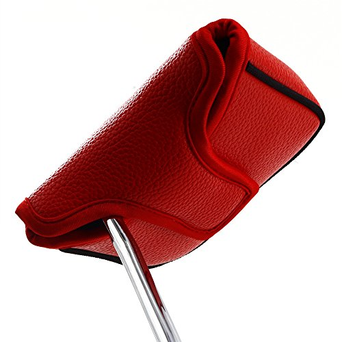 Big Teeth Heel Shaft Golf Square Mallet Putter Cover Headcover Club Protector for High MOI Large Size Equipment Model Taylormade Scotty Cameron 6M DB (Red)