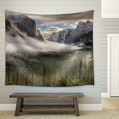 the Sun Peaks over the Sierras for Its First Glimpse of the Yosemite Valley Fabric Wall Tapestry