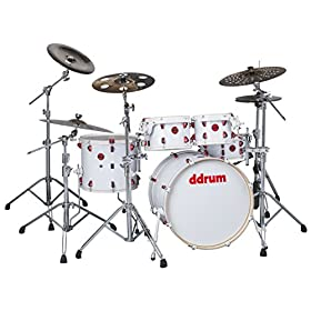 ddrum Hybrid 5 Player Shell Pack Kit-White Wrap Finish WHT 7