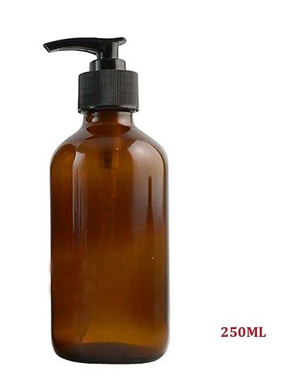 Vacío Rellenable Contenedor de botella de champú Gel de ducha embalaje tarro de cristal ámbar con