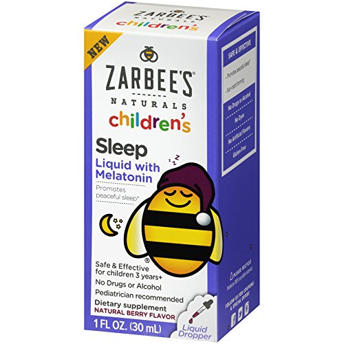 Zarbee's Naturals Children's Sleep Liquid with Melatonin, Natural Berry Flavor, 1 Ounce Bottle (Mind Won T Shut Off To Sleep)