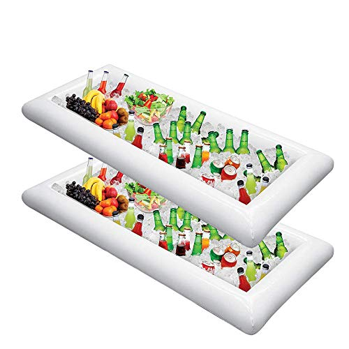 Inflatable Ice Serving Bar with Hand Pump 2 Pack Salad Ice Tray Food Drink Containers - BBQ Picnic Pool Party Supplies Buffet Luau Cooler Drain Plug (Coolers Table)