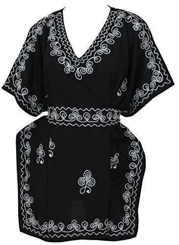 La Leela v cubrir bordado cuello hasta la playa corta caftán rayón viscosa más tamaño superior las mujeres túnica negro