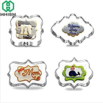 1 lot WHISM 4pcs Stainless Steel Cookie Cutter Frame DIY Biscuit Pastry Stamps Fondant Cake Decor