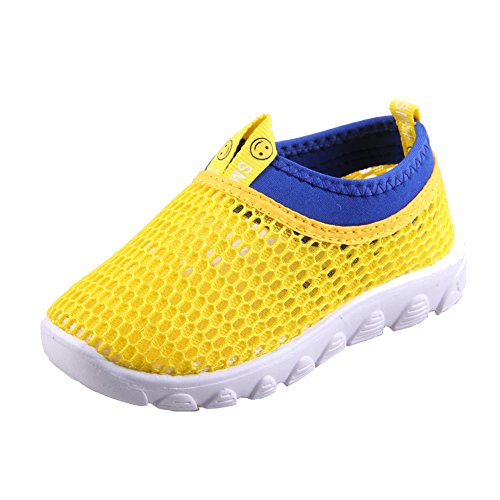 CIOR Kids Casual Shoes Breathable Slip-On Sneakers for Walking Running Toddler/Little Kid/Big Kid,SK1106,N.Yellow,36