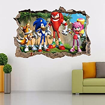Lovely Sonic The Heedgehog Smashed Wall Decal Removable Graphic Wall Sticker Tails  H181, Regular Design Ideas