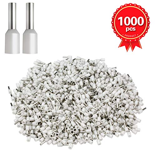 (XHF2018 1000 pcs Cord end terminals, Wire Terminals, Wire Connector, Insulated Cord Pin End Terminal AWG 14 (2.5mm²) (White))