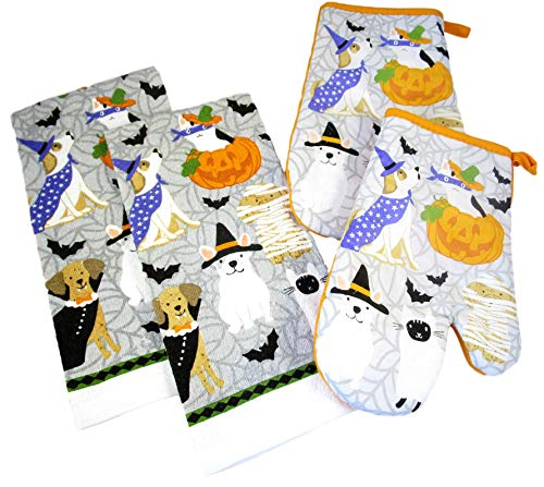 Halloween Kitchen Gift Sets - Dish Towels and Oven Mitts (Halloween Pets - Dogs and Cats in Costumes - 2 Dish Towels and 2 Oven - Dish Inch Puppy 15