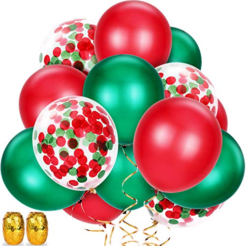 Pangda 50 Pieces Christmas Balloons, Include Red and Green Balloons, Confetti Balloons with 2 Rolls Foil Ribbons for Party Decoration (Red, Green, Ivory)