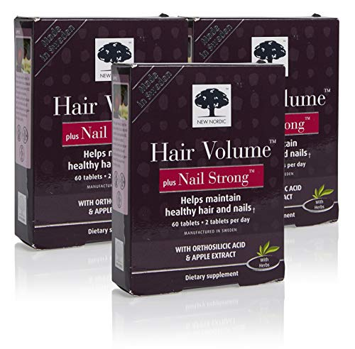 (New Nordic Hair Volume w/Nail Strong, 60 Tablets (Pack of 3) )