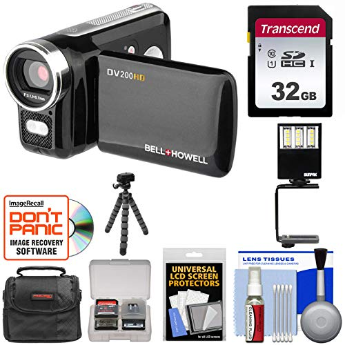 (Bell & Howell DV200HD HD Video Camera Camcorder with Built-in Video Light 32GB Card + Video Light + Tripod + Case + Kit)