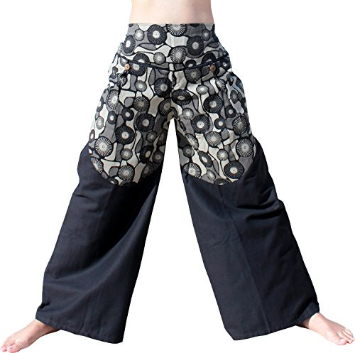 RaanPahMuang Japanese Curved Fashion Bloom Pants - Cast Iron Motif, Small, Black Circle - Motif Cast Iron