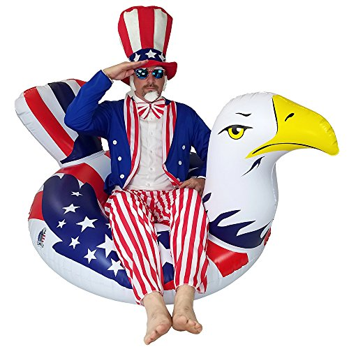 Inflatable American Bald Eagle Pool Inflatable - Premium Patriotic Inner Tube Rafts Pool Floats & Pool Toys ()