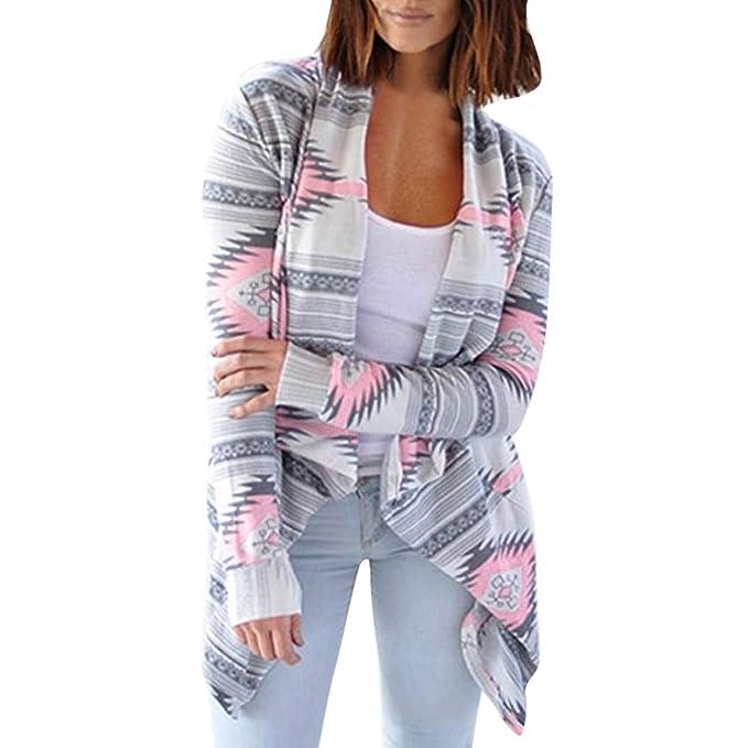 Linlink Abrigo de Las señoras Mujer de impresión Estampado geométrica Cardigan Ocasional Suelto Cardigan de Gran tamaño Sexy Cardigan: Amazon.es: Ropa y ...