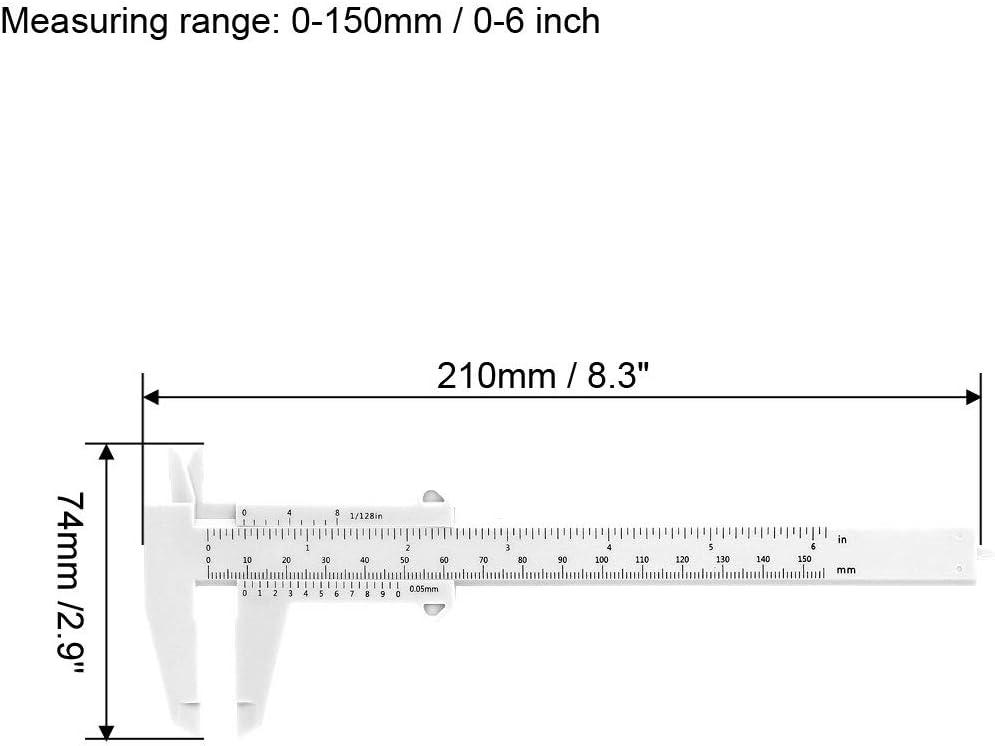 sourcing map Pied /à Coulisse 150mm 6 Pouce M/étrique Plastique Outil Mesure pour Pr/écision Mesures Ext/érieur Int/érieur Profondeur Blanc