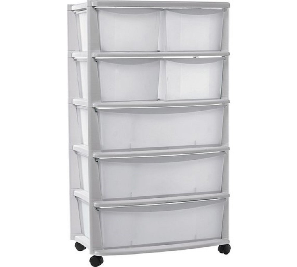 Plastic Wide Tower Storage Unit On Wheels With 7 Drawers 131