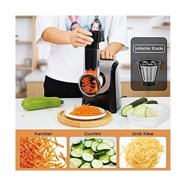 Affettaverdure elettrico elettrico da cucina 150 Watt, tamburo in acciaio inox, 4 lame coniche 2