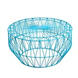 Joveco Round Metal Iron Wire Structure Coffee Table Sofa Table with Triangle Pattern – Light Blue For Sale