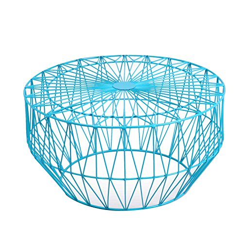 joveco round metal iron wire structure coffee table sofa table with triangle pattern light blue