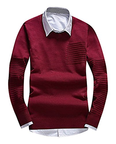 CELINO Men's Fine Knit Geometric Pattern Slim Ribbed Trim Long Sleeve Pullover, 6001JiuRed XS ,Manufacturer(M)