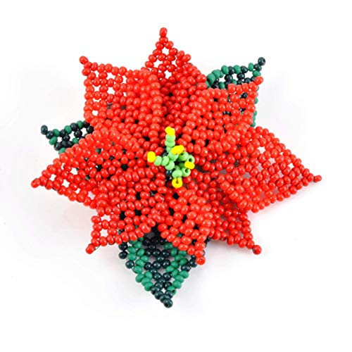 Poinsettia Beaded Art Brooch; One of a Kind ()
