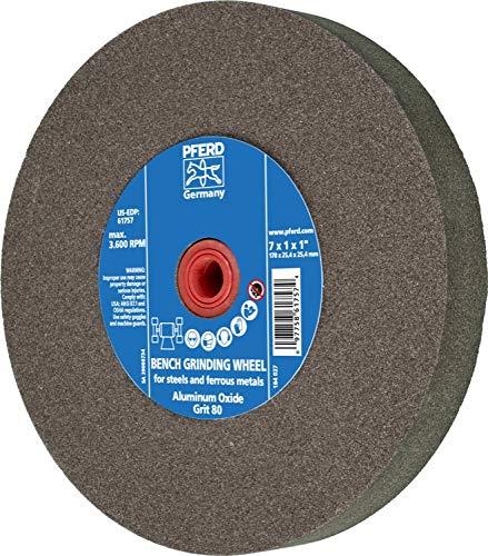 PFERD 61757 Bench Grinding Wheel, Aluminum Oxide, 7'' Diameter, 1'' Thick, 1'' Arbor Hole, 80 Grit, 3600 Maximum RPM by Pferd