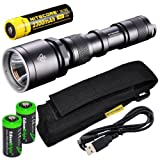 NiteCore MH25GT CREE XP-L HI V3 LED 1000 Lumens USB Rechargeable Flashlight, 18650 Rechargeable Li-Ion Battery, USB Charging Cable and Holster, Black