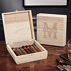 HomeWetBar Santiago Wooden Oakmont Personalized Cigar Box