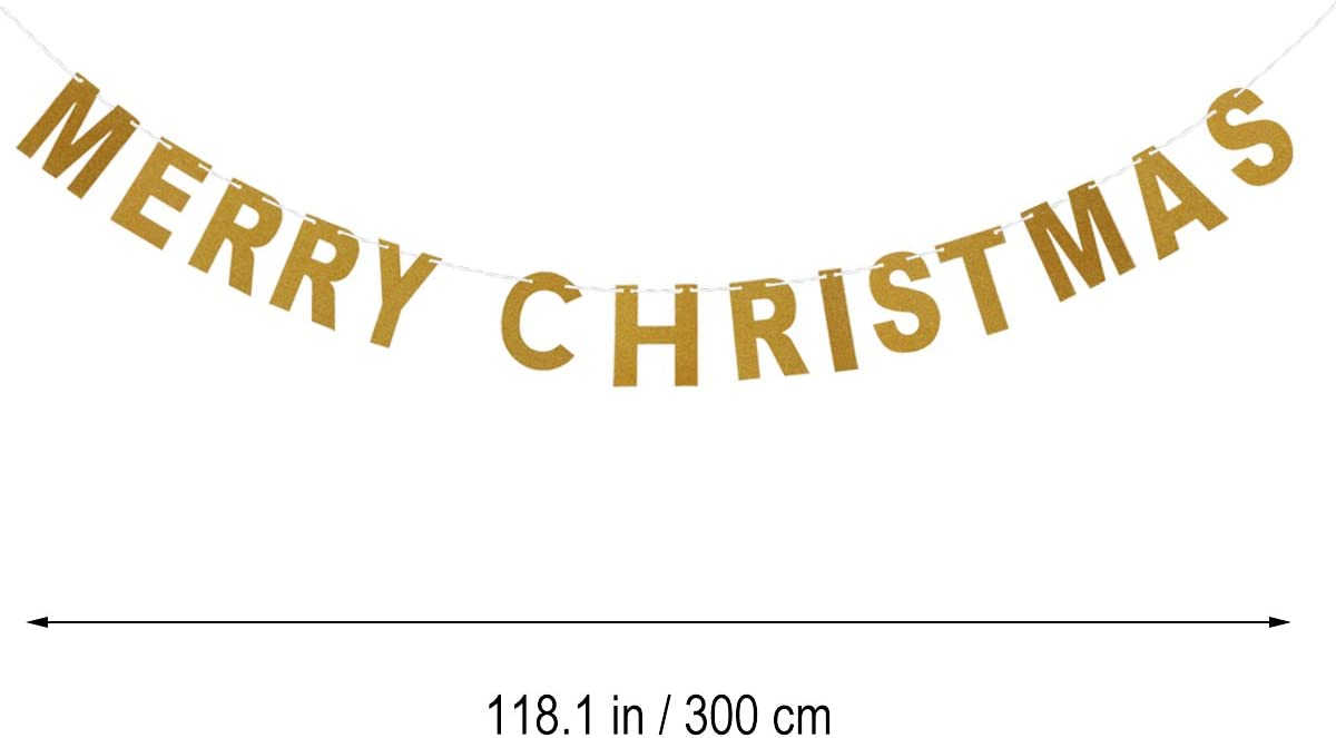OULII MERRY CHRISTMAS Gold Glitter Bunting Banners Paper Hanging Garland Door Wall for Home Office Party Supplies