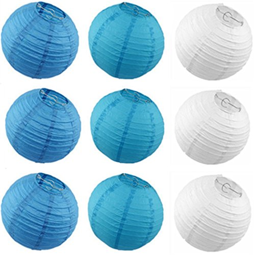 Derker-9pcs-Sky-BlueLight-BlueWhite-ChineseJapanese-Paper-Lanternslamps-Assortment-Paper-Lantern-Value-Pack-Party-Accessory8-Inch-Blue