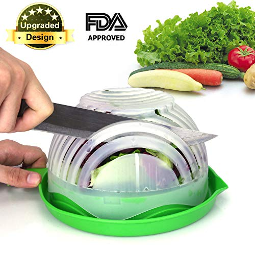 (Salad Cutter Bowl Upgraded Easy Salad Maker by WEBSUN, Fast Fruit Vegetable Salad Chopper Bowl Fresh Salad Slicer FDA-Approved)