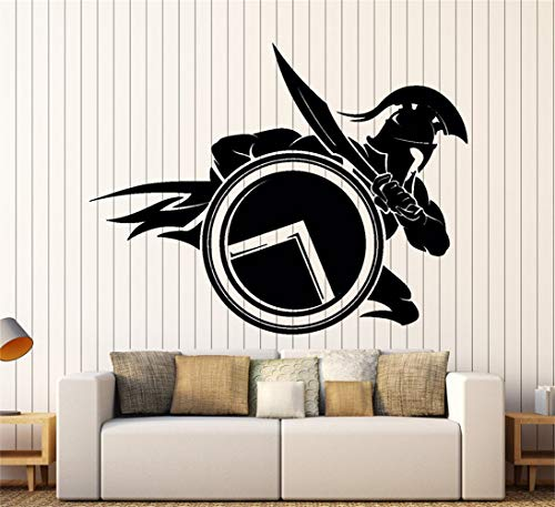 Sparta Bamboo - Poraet Wall Words Sayings Removable Lettering Wall Sticker Wall Decal Spartan Warrior with Shield and Sword Sparta