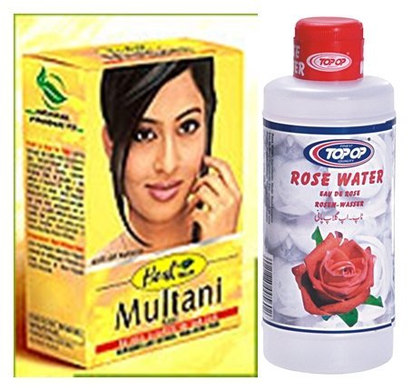 Price comparison product image Hesh Herbal Multani Mati (Mitti) Fullers Earth 100G & Top Op Rose Water 200Ml - 2 In 1 Face & Skin Care Combo Pack