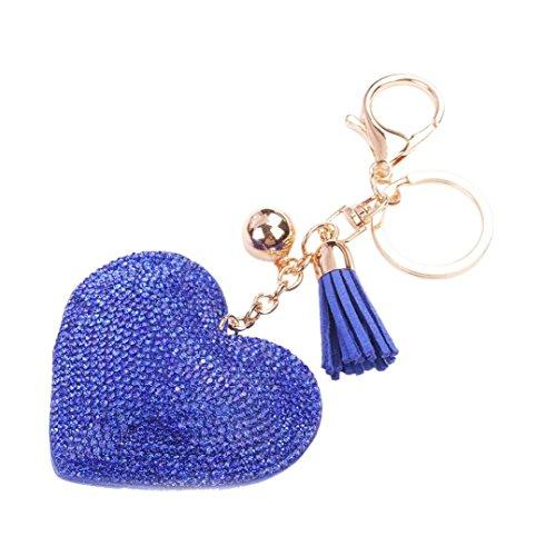 Gotd Love Rhinestone Tassel Keychain Bag Handbag Key Ring Car Key Pendant (Blue)