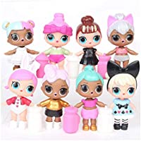 8pcs L.O.L Surprise Dolls Lovely Eyes PVC Figures Cake Topper Gift Kid Toy (8 Pcs - B)