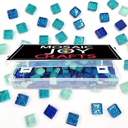MosaicTiles for Crafts Blue Assorted Color 320 Pieces Glass Glitter Mosaic Supplies Pieces Bulk Square Shape 0.4X0.4 Inch by Mosaic Joy (Blue, 320pcs)