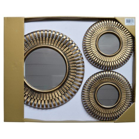 """Set of 5 Antique Gold Round Decorative Wall Display Large 15"""" and Small 10"""" Mirror Set Golden Quality Bedding"""