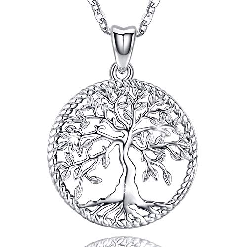 Aniu Silver Necklace for Women, Family Tree of Life Sterling Silver Pendant with Fine Gift Box for Mom Grandma Wife Girlfriend - Jewelry Gift Ideas