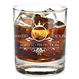 1969 50th Birthday Whiskey Glass for Men and Women - Vintage Funny Anniversary Gift Idea for Him, Her, Husband, Wife – 50 Year Old Gifts for Mom, Dad - Party Favors, Decorations - 11 oz