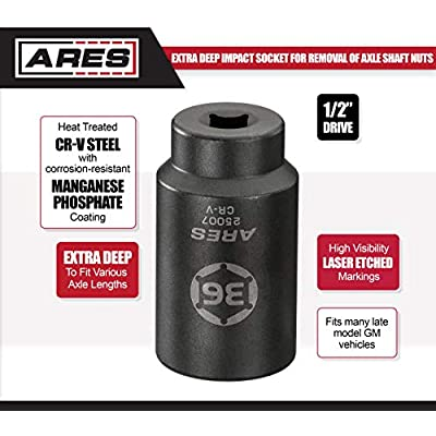 ARES 25007-1/2-Inch Drive 6 Point Axle Nut Socket (36MM) - Extra Deep Impact Socket for Easy Removal of Axle Shaft Nuts: Automotive