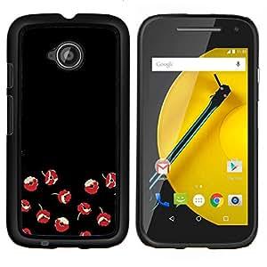 Stuss Case / Funda Carcasa protectora - Flores rojas minimalista arte oscuro - Motorola Moto E ( 2nd Generation )