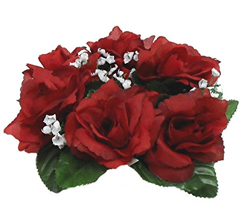 - Candle Rings ~ Burgundy Wine ~ Silk Wedding Decoration Flowers Artificial Arrangement Roses Centerpieces Unity