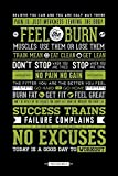 Laminated Motivational Gym Motivation No Excuses Poster 61x91.5cm