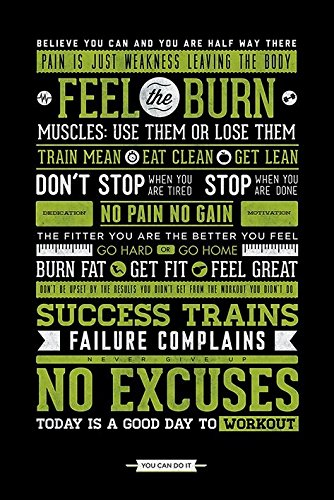 Laminated Motivational Gym Motivation No Excuses Poster cm by Grindstore