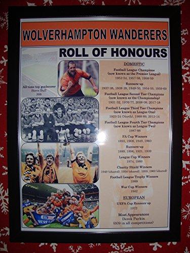 Sports Prints UK Wolverhampton Wanderers club history roll of honours - framed print - Hughes Framed