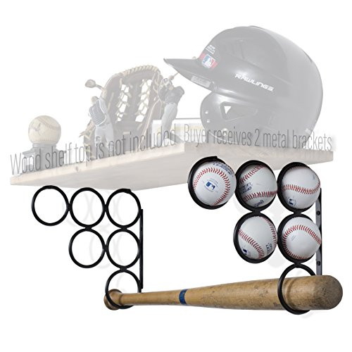Wallniture Baseball Softball Bat Rack - Sports Accessories - Wood Shelf is not Included - Wall Mounted Shelf Brackets Only Iron Set of 2 (Black) (Bookshelf Circle Wall)