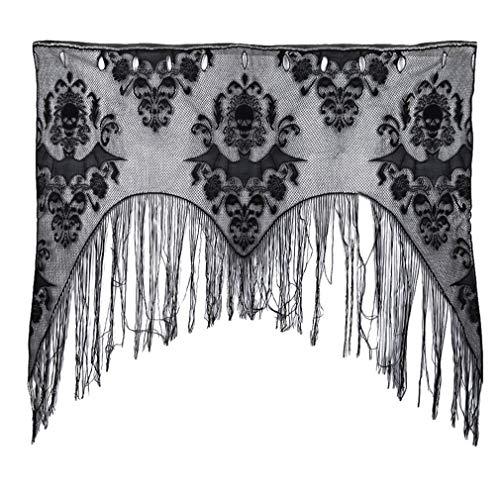 Iumer Spider Web Skull Bat Tassel Curtains Black Halloween Haunted Tassel Curtain Lace Valance Window House Decorations
